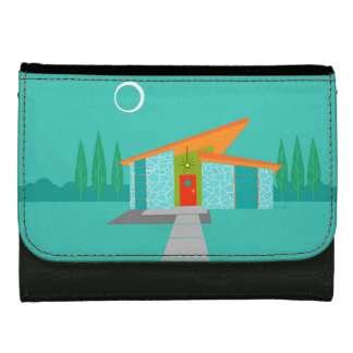 Space Age Cartoon House Leather Wallet