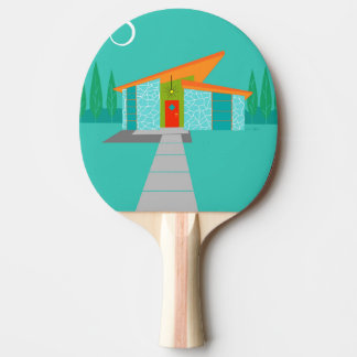 Space Age Cartoon House Ping Pong Paddle