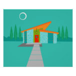 Space Age Cartoon House Poster