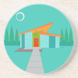 Space Age Cartoon House Sandstone Coaster