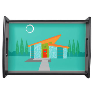 Space Age Cartoon House Serving Tray
