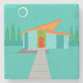 Space Age Cartoon House Stone Coaster