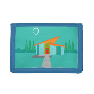 Space Age Cartoon House TriFold Nylon Wallet