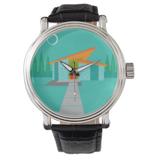 Space Age Cartoon Leather Watch