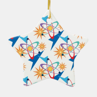 Space Age Retro Multicolored Pattern Ceramic Star Decoration