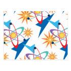 Space Age Retro Multicolored Pattern Postcard