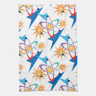 Space Age Retro Multicolored Pattern Tea Towel