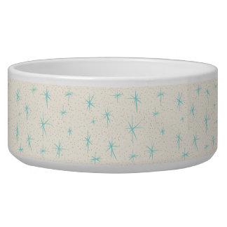 Space Age Turquoise Starburst Ceramic Dog Bowl