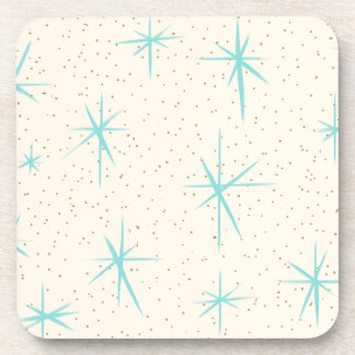 Space Age Turquoise Starburst Hard Plastic Coaster
