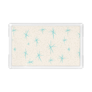 Space Age Turquoise Starbursts Acrylic Tray