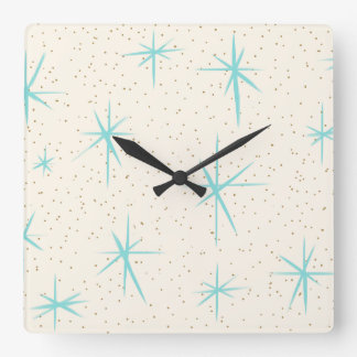 Space Age Turquoise Starbursts Acrylic Wall Clock