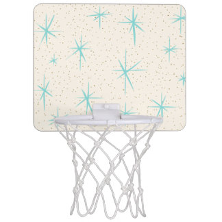 Space Age Turquoise Starbursts Basketball Hoop