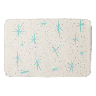 Space Age Turquoise Starbursts Bath Mat