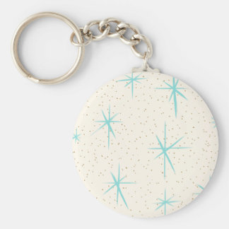 Space Age Turquoise Starbursts Button Keychain