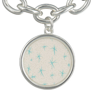 Space Age Turquoise Starbursts Charm Bracelet