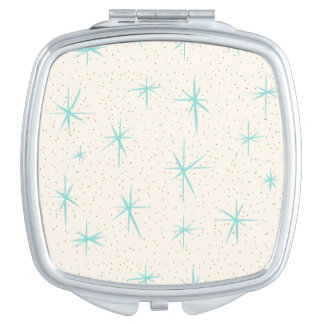 Space Age Turquoise Starbursts Compact Mirror