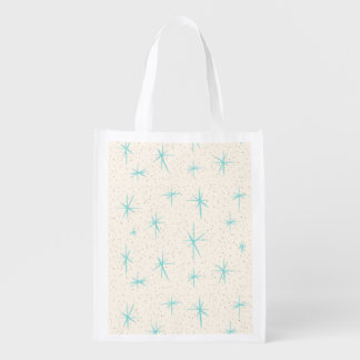 Space Age Turquoise Starbursts Grocery Bag