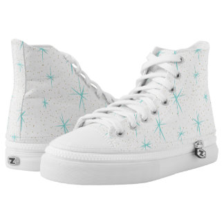 Space Age Turquoise Starbursts High Top Shoes