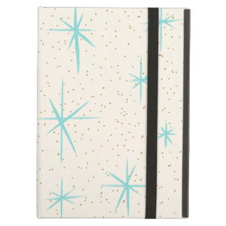 Space Age Turquoise Starbursts iPad Case