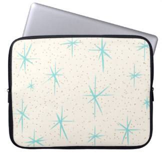 Space Age Turquoise Starbursts Laptop Sleeve