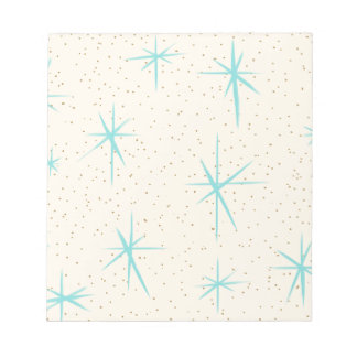 Space Age Turquoise Starbursts Notepad