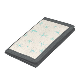 Space Age Turquoise Starbursts Nylon Wallet