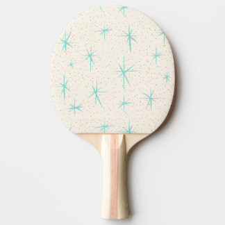 Space Age Turquoise Starbursts Ping Pong Paddle