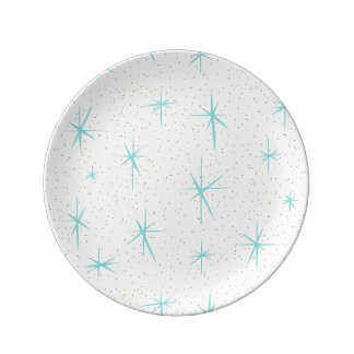 Space Age Turquoise Starbursts Porcelain Plate