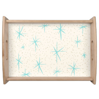 Space Age Turquoise Starbursts Serving Tray
