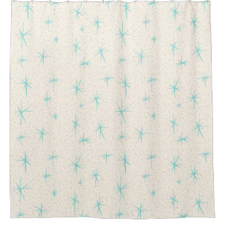 Space Age Turquoise Starbursts Shower Curtain
