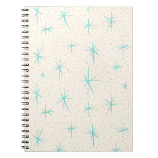 Space Age Turquoise Starbursts Spiral Notebook