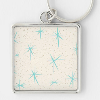 Space Age Turquoise Starbursts Square Keychain
