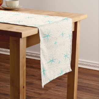 Space Age Turquoise Starbursts Table Runner