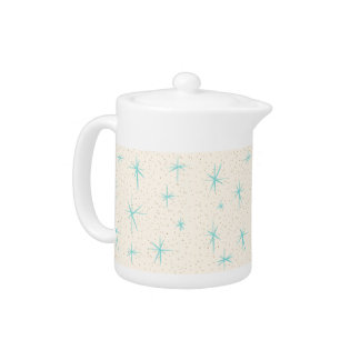 Space Age Turquoise Starbursts Tea Pot