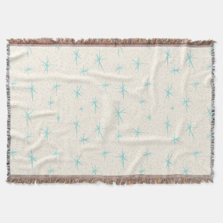 Space Age Turquoise Starbursts Throw Blanket