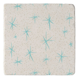 Space Age Turquoise Starbursts Trivet