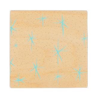Space Age Turquoise Starbursts Wood Coaster