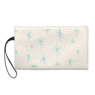 Space Age Turquoise Starbursts Wristlet