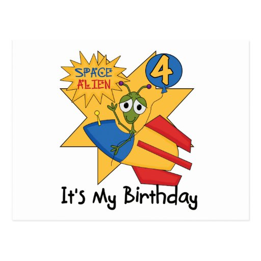 Space Alien 4th Birthday T-shirts and Gifts Postcards
