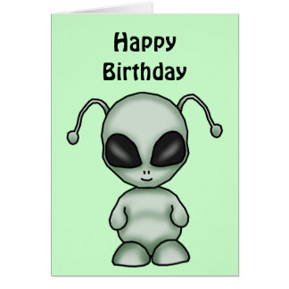Space Alien Birthday Card