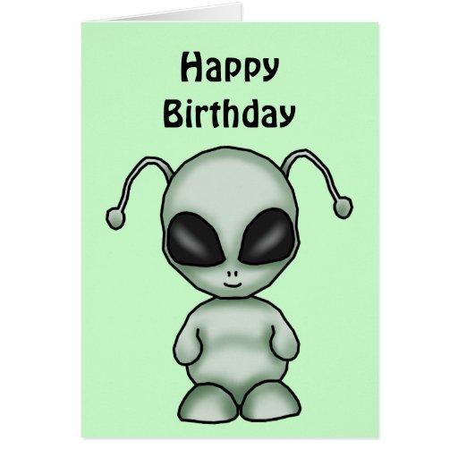 Space Alien Birthday Card