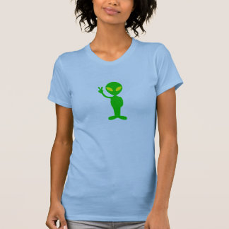 Space Alien Flashing the Peace Sign T-Shirt