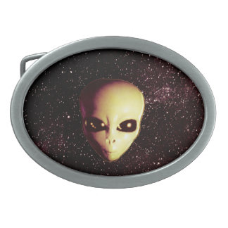 Space Alien Oval Belt Buckle