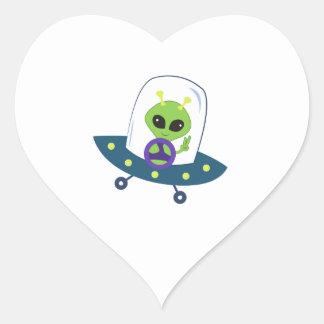 Space Alien Heart Stickers