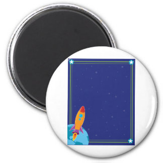 Space and Rocket 6 Cm Round Magnet