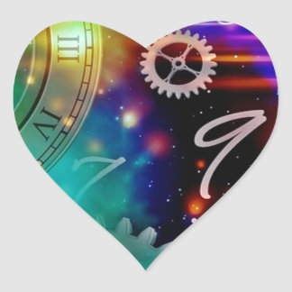 Space and Time Science Fiction Heart Stickers