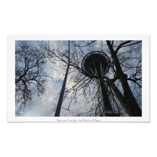 """Space and Tree Lace"" Seattle Space Needle Art Photo"