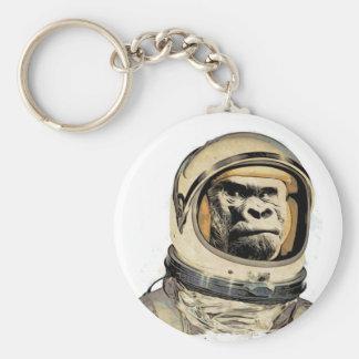 Space ape   Gorila espacial Raum-Affe Singe de l'e Basic Round Button Key Ring