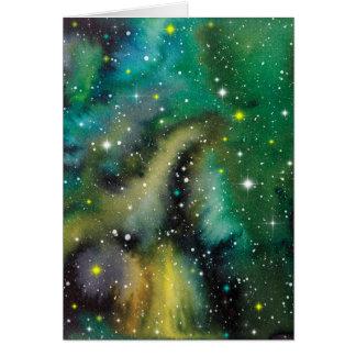 Space Art Watercolor Galaxy Card