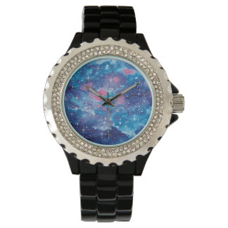Space Art Watercolor Galaxy Watch